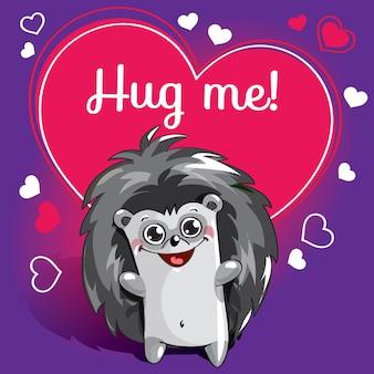 Мультяшный ежик готов к объятиям. забавное животное. милый мультфильм домашнее животное на белом фоне. с надписью от руки фраза обними меня