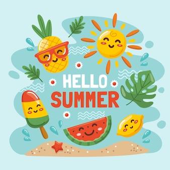 Мультфильм привет лето иллюстрация