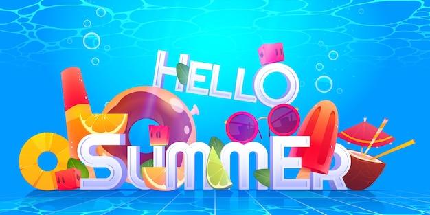 Cartoon ciao estate illustrazione