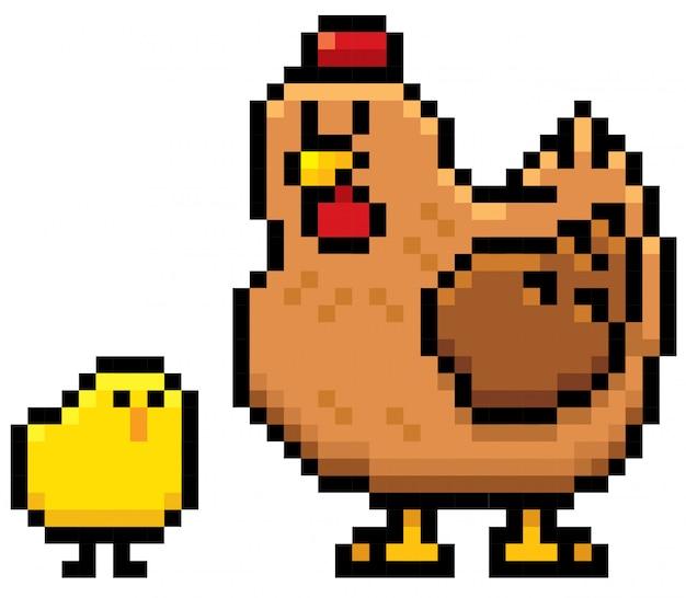 Cartoon hen and chick pixel design