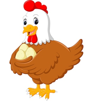 Cartoon hen and her three eggs