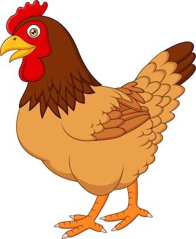 漫画の鶏は、白い背景に