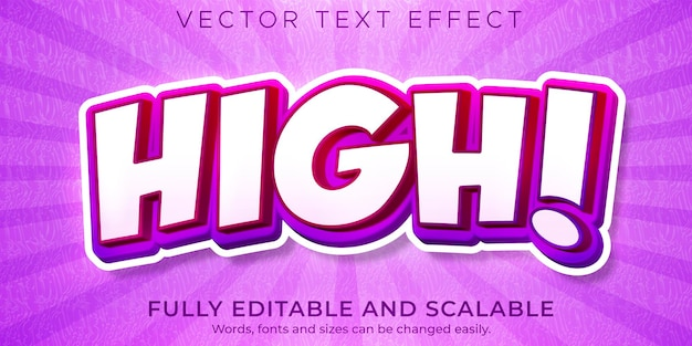 Cartoon high text effect editable comic and funny text style