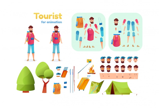 Cartoon hiker camping tourist animation set. young man with backpack hiking sticks tent map creation kit with face emotions, various position. trekking man constructor with bonfire, camera