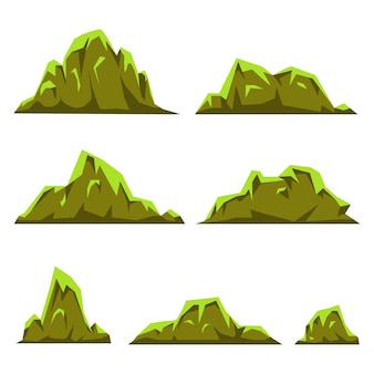 Cartoon hills and mountains set for web or game