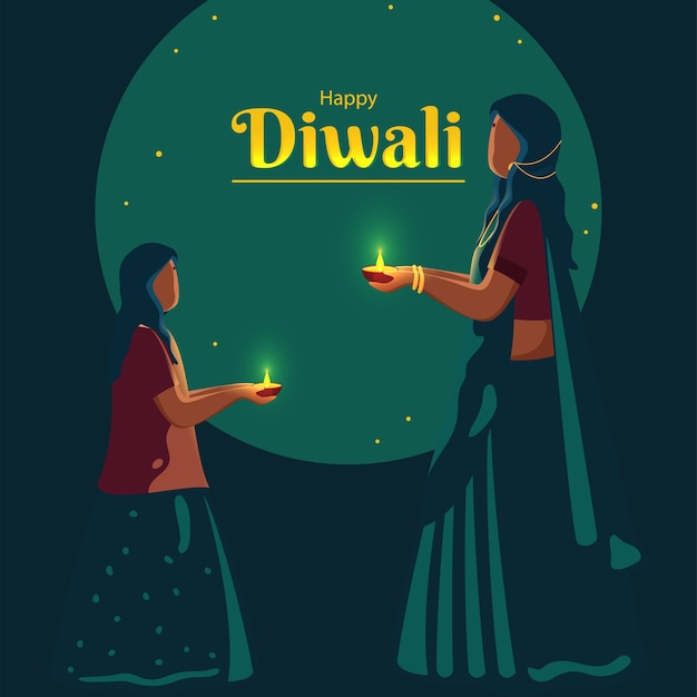 Cartoon hindu woman with her daughter holding lit oil lamp