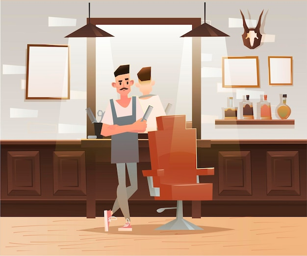 Cartoon hipster barber character illustration