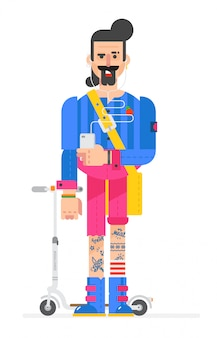 The cartoon hipster is painted in a flat style. vector.