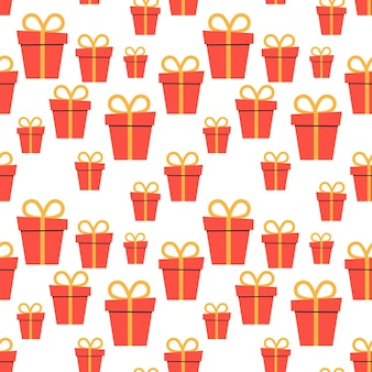 Cartoon holiday boxes with bows. seamless pattern. vector illustration. eps10
