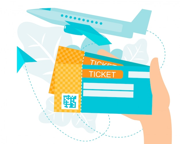 Cartoon homan hand holding air ticket with qr code