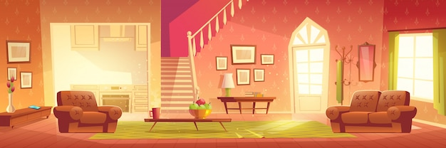 Cartoon home interior. bright hall and living room