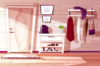 Cartoon home interior, hallway with furniture - shelf, rack and hangers with clothes.