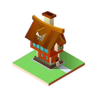Cartoon home in isometric perspective.