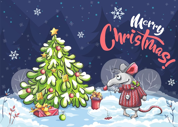 Cartoon horizontal illustration postcard merry christmas of a funny mouse