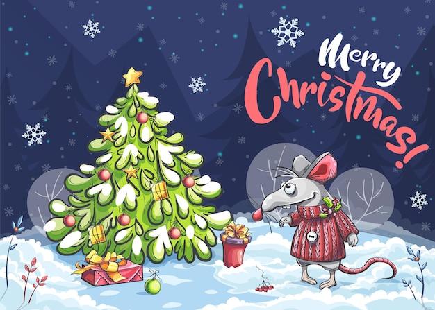 Cartoon horizontal illustration postcard merry christmas of a funny mouse