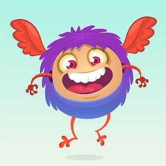 Cartoon horned funny monster, illustration of excited monster