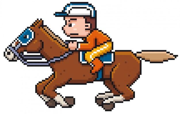 Cartoon horse riding - pixel design