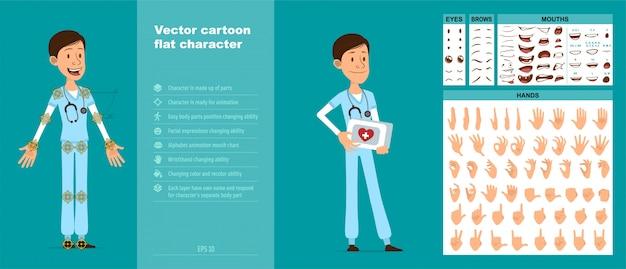 Мультяшный больничный врач персонаж большой векторный набор