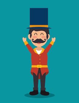 Cartoon host man circus festival