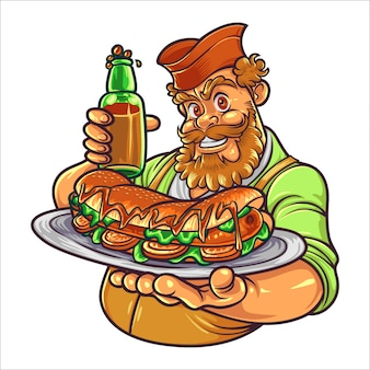 Cartoon hot dog master