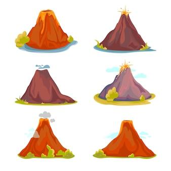 Мультяшный горячий вулкан с магмой и лавой.