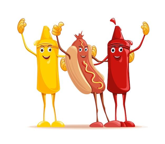 漫画のホットドッグ、マスタード、トマトのケチャップが寄り添います。面白いファーストフード。かわいいキャラクターのマスタード、ケチャップ、ホットドッグ。図