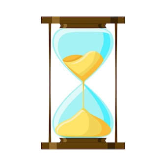 Cartoon hourglass isolated on white background.