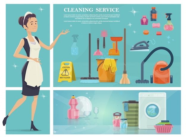 Cartoon house cleaning composition with maid washing machine broom towels clean plate glasses hoover iron soap sponge mop bucket