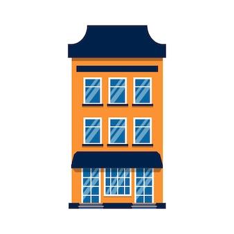 만화 집 다채로운 건축 암스테르담 단일. 근접 촬영 그래픽 아이콘 타운 하우스, 유럽 스타일. 평평한 도시 건물 고층 마을과 교외 집 별장. 흰색 그림에 절연