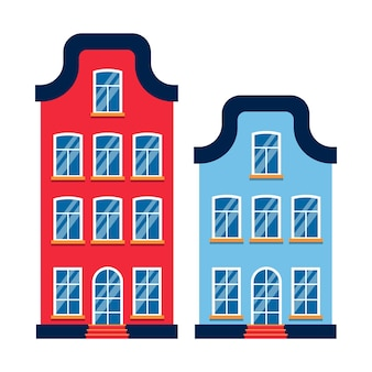 Cartoon house colorful architecture amsterdam. townhouse. flat urban building tall town