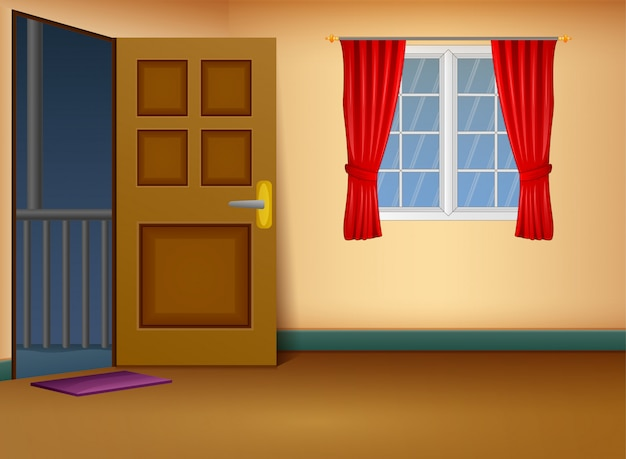 Cartoon of house entrance living room design