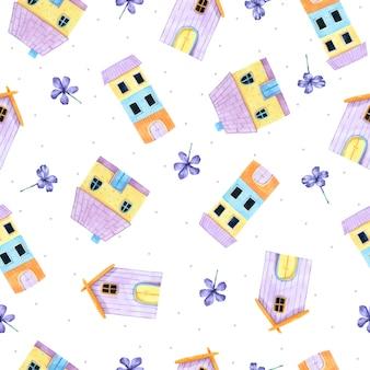 Cartoon house seamless pattern in watercolor