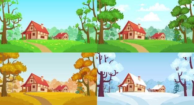 Cartoon house in woods. forest village four seasons landscapes
