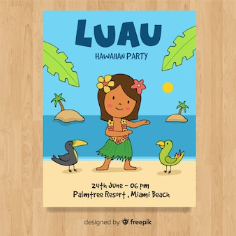 Cartoon hula dancer luau poster template