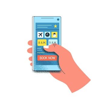 만화 인간의 손에는 흰색으로 분리된 화면에 버튼 책이 있는 스마트폰이 있습니다. 여행 사람은 온라인 예약 모바일 응용 프로그램 벡터 평면 그림을 사용합니다. 주문 티켓 및 호텔 서비스.