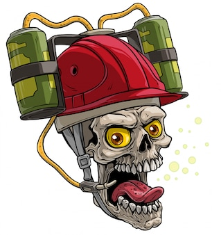 Cartoon human skull in red drinking beer helmet