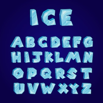 Cartoon ice alphabet set