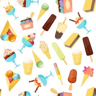 Мультфильм фоновый узор мороженого разную форму для кафе и ресторана в стиле плоский дизайн меню. векторная иллюстрация