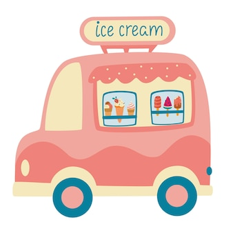 만화 아이스크림 트럭입니다. 길거리 음식 캐러밴 트레일러. 다채로운 벡터 일러스트 레이 션, 귀여운 스타일, 흰색 배경에 고립