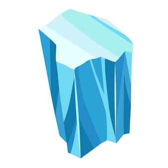 만화 얼음 결정입니다. 차가운 냉동 블록 또는 얼음 산, 게임 디자인을 위한 겨울 장식. 빙산 깨진 얼음 조각입니다. 흰색 바탕에 눈 덮인 요소