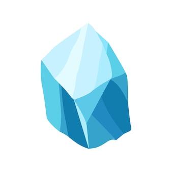 漫画の氷の結晶。冷たい凍ったブロックまたは氷の山、ゲームデザインのための冬の装飾。氷山の氷の破片。白い背景の雪の要素