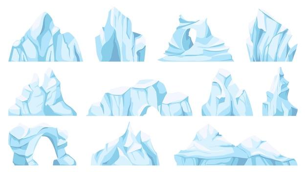 漫画の氷山。漂流する北極の氷河または氷の岩。凍った水、南極の氷の峰、ゲーム用の氷の山、自然オブジェクトのベクトルセット。北極の破片または氷のブロックとベルク