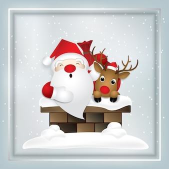 Cartoon icon,christmas with santa and deer in chimney.