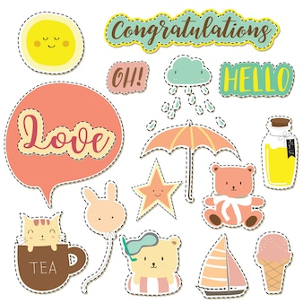 Cartoon icon collection withice cream,cloud,star,sun,umbrella and wording icon
