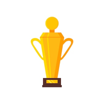 Cartoon icon of golden trophy. winner's reward. shiny award. graphic element for mobile game