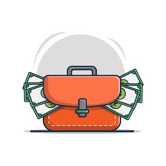 돈이 들어있는 가방의 만화 아이콘 그림