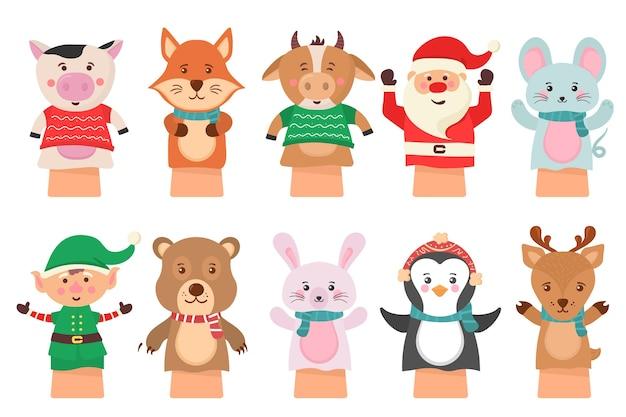 漫画のアイコンが白い背景の劇場人形に分離されました。手人形は人形、かわいい、面白い動物を再生します。子供の面白いキャラクターのための手と指のおもちゃの靴下から人形。