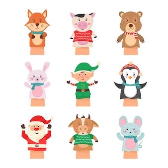 白い背景の劇場人形に分離された漫画アイコン。手の人形は人形、かわいくて面白い動物を演じます。子供たちの面白いキャラクターのための手と指のおもちゃの靴下からの人形。