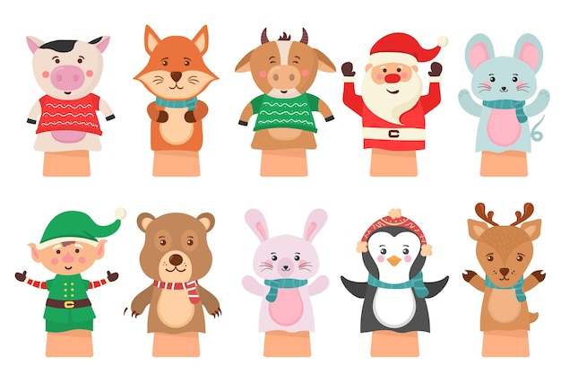 Cartoon icon isolated on white background theater puppets. hands puppets play doll, cute and funny animals. dolls from socks on hands and fingers toys for kids funny characters.