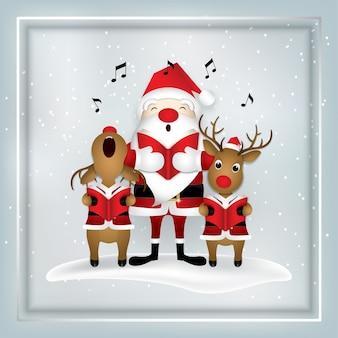 Cartoon icon,santa claus deer singing .